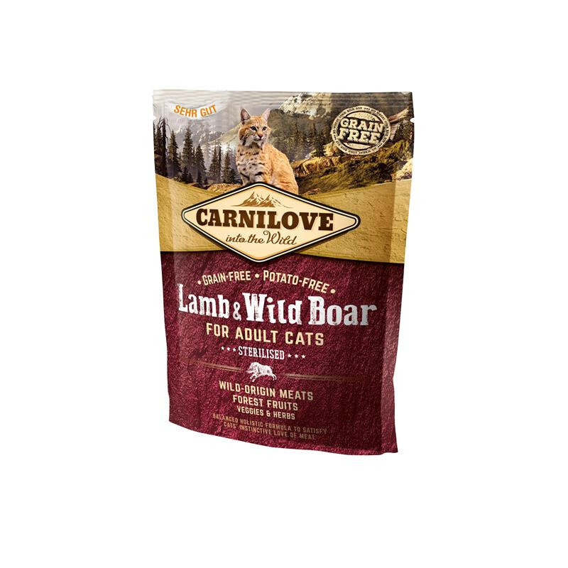 Carnilove 400г Lamb & Wild Boar for Adult Cats – Sterilised дкастрир