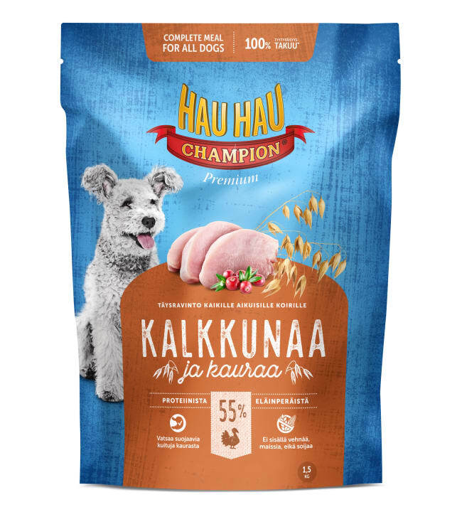 Hau-Hau Champion Turkey-oat 1.5 кг -  корм для собак Индейка- Овёс 18192