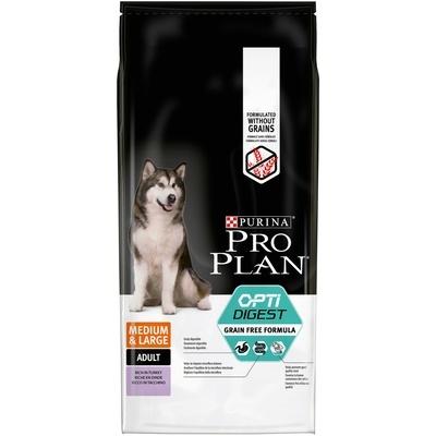Pro Plan корм для собак средних и крупных пород, беззерновой, чувствительное пищеварение, индейка 12 кг