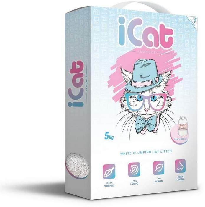 iCat комкующийся белый наполнитель для кошачьих туалетов, с ароматом детской присыпки 5 кг