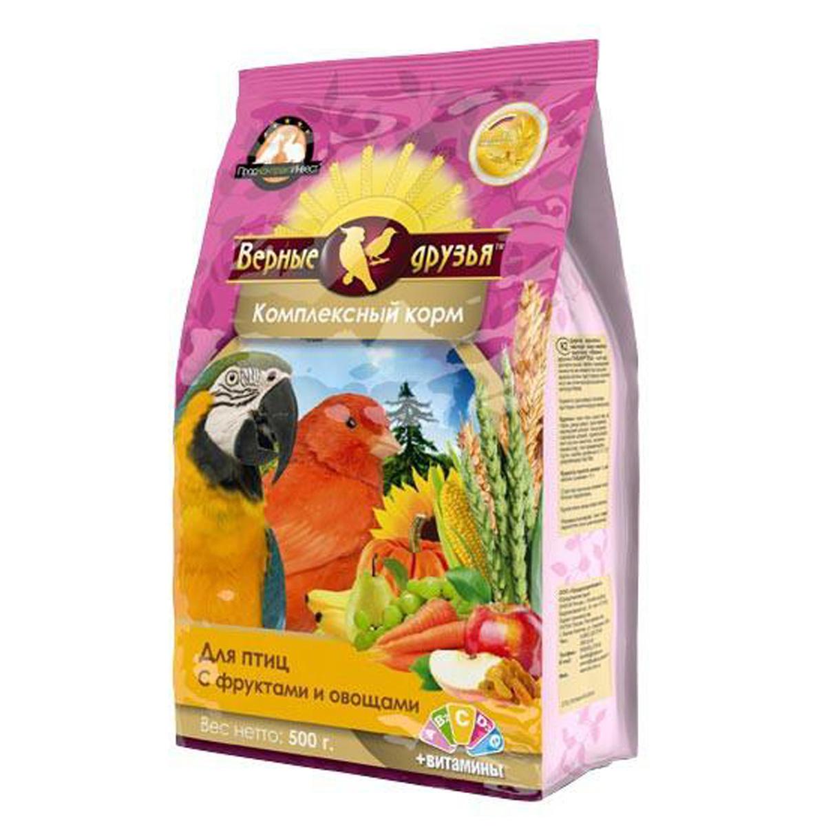 Корм Верные друзья дптиц с овощами и фруктами 500гр пакет 118