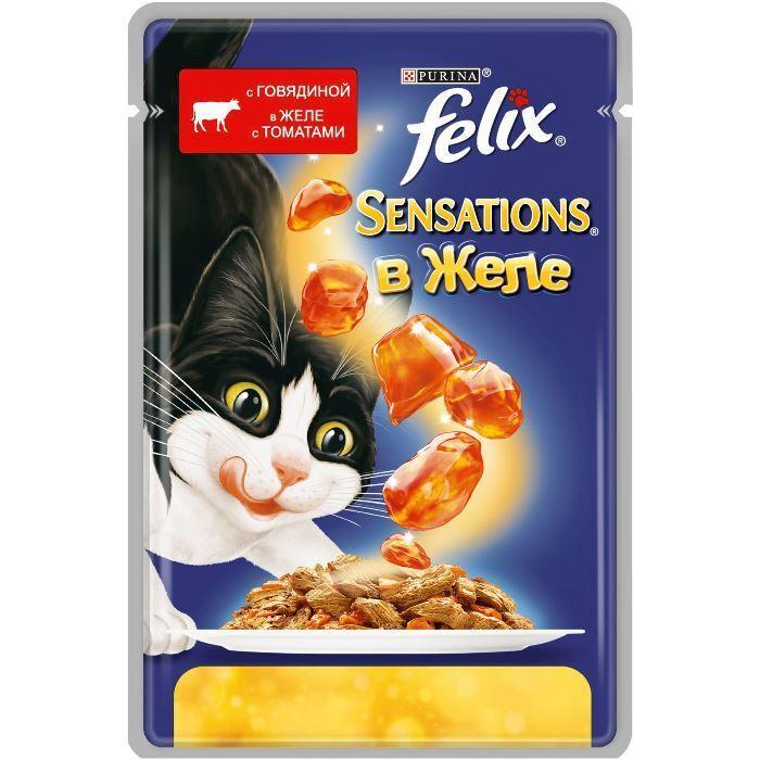 Felix Sensations влажный корм для взрослых кошек всех пород, говядина и томат 85 гр
