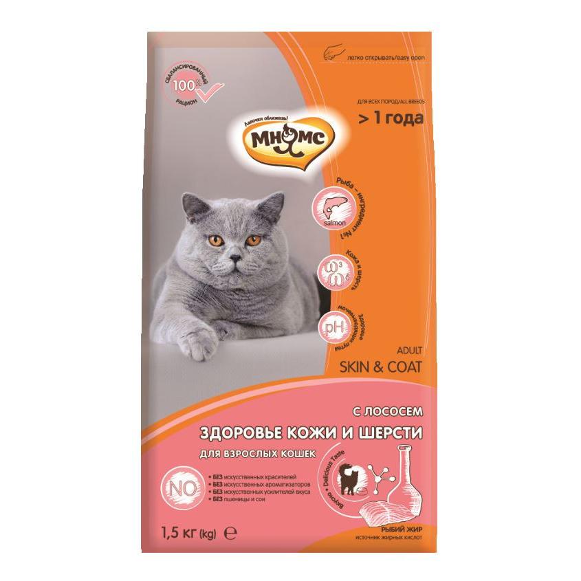Мнямс корм для взрослых кошек всех пород, для кожи и шерсти, лосось и тунец 1,5 кг