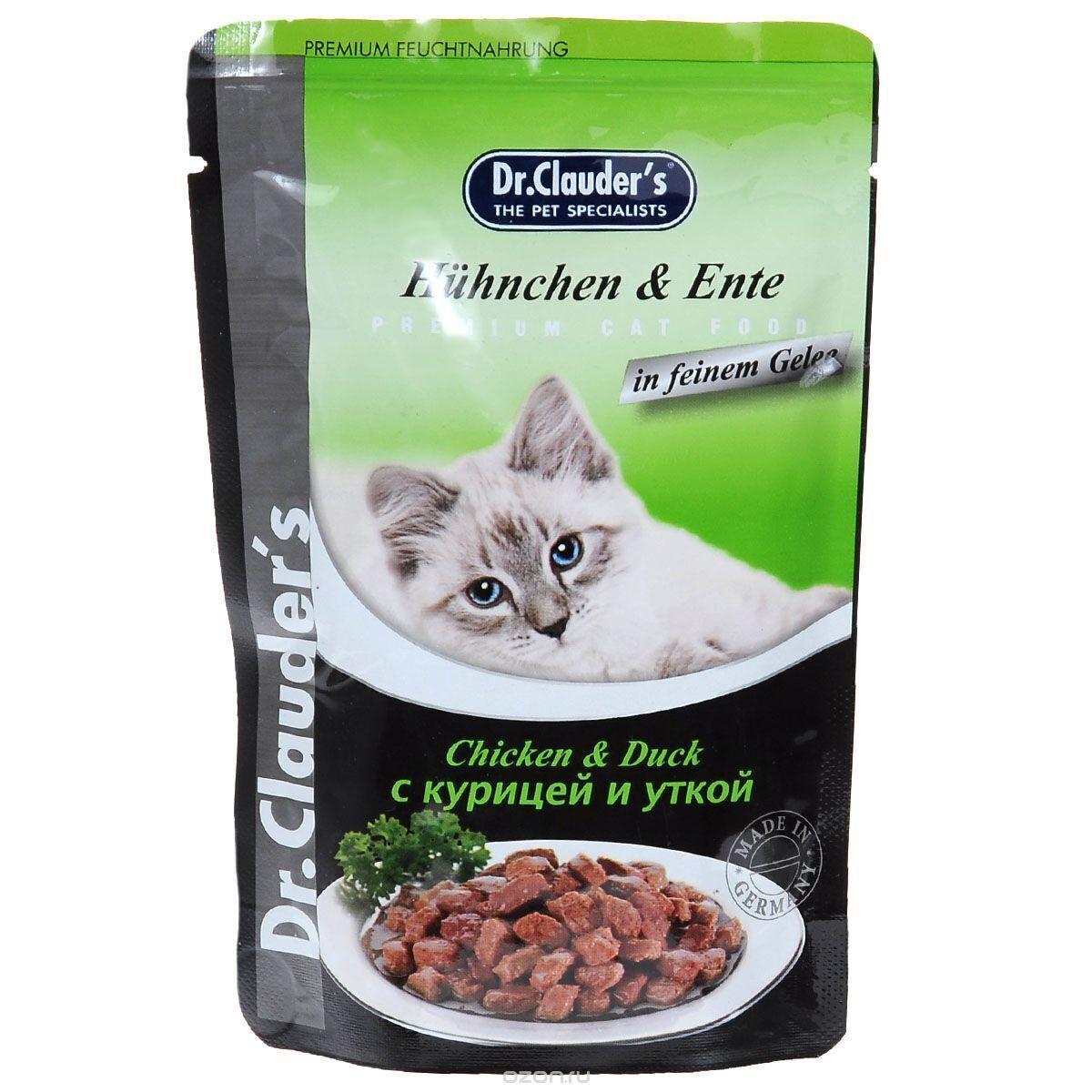 Dr. Clauders влажный корм для взрослых кошек всех пород, с курицей и уткой 100 гр