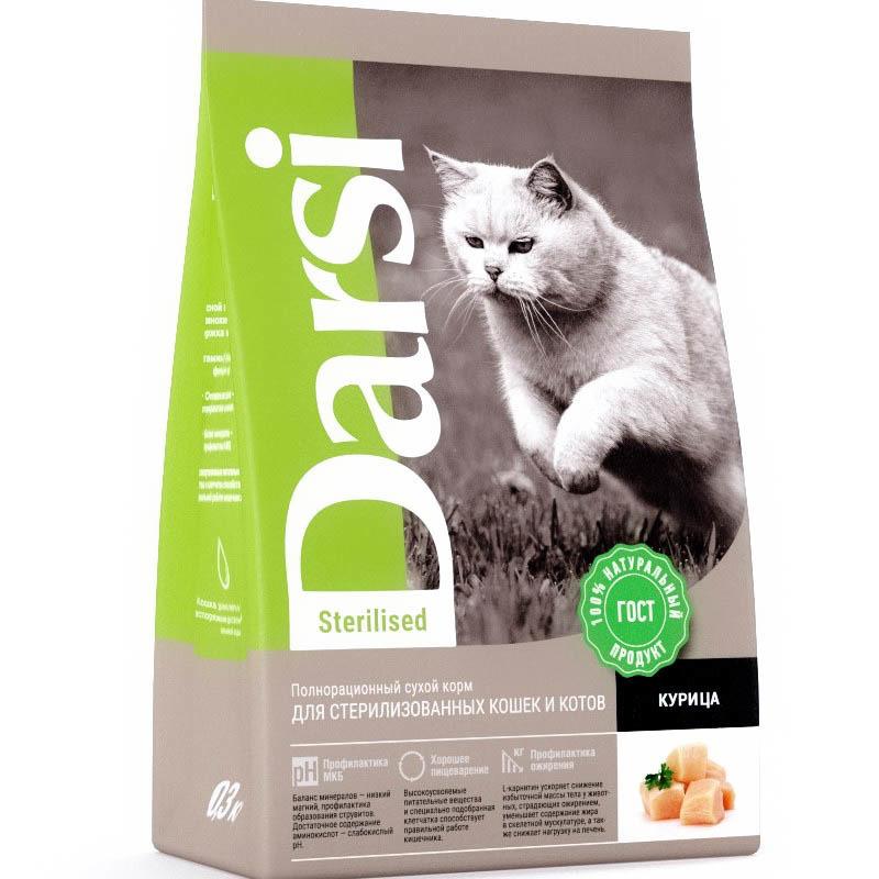 Darsi корм для стерилизованных взрослых кошек всех пород, курица 300 гр