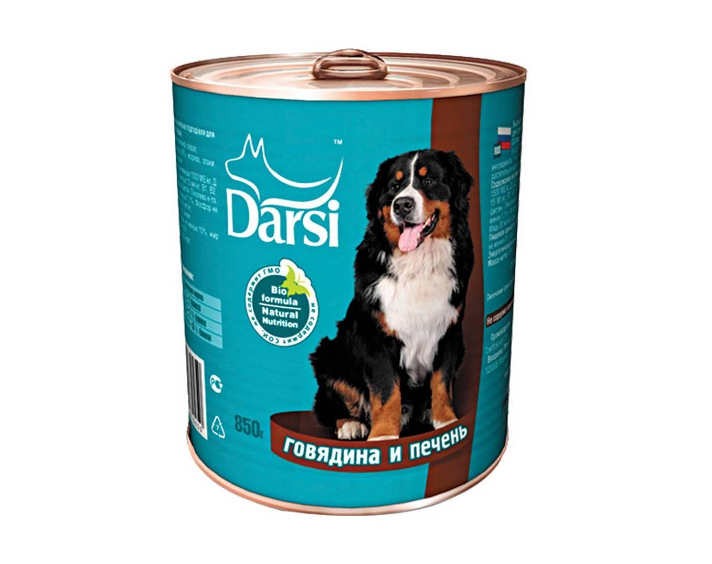 Darsi влажный корм для взрослых cобак средних пород, говядина и печень 850 гр