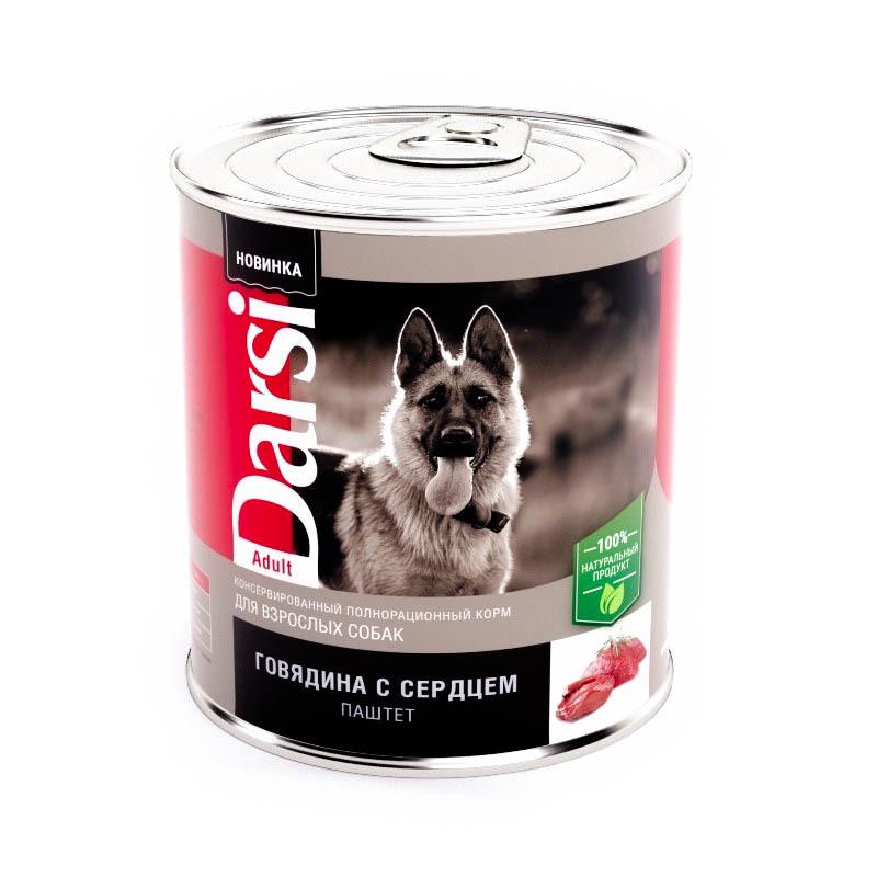 Darsi влажный корм для взрослых cобак средних пород, говядина и сердце 850 гр