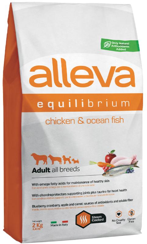 ALLEVA EQUILIBRIUM DOG длЯ собак All Day Maintenance Chicken & Ocean Fish All Breeds  взрослых с курицей и океанической рыбой 2кг 3032