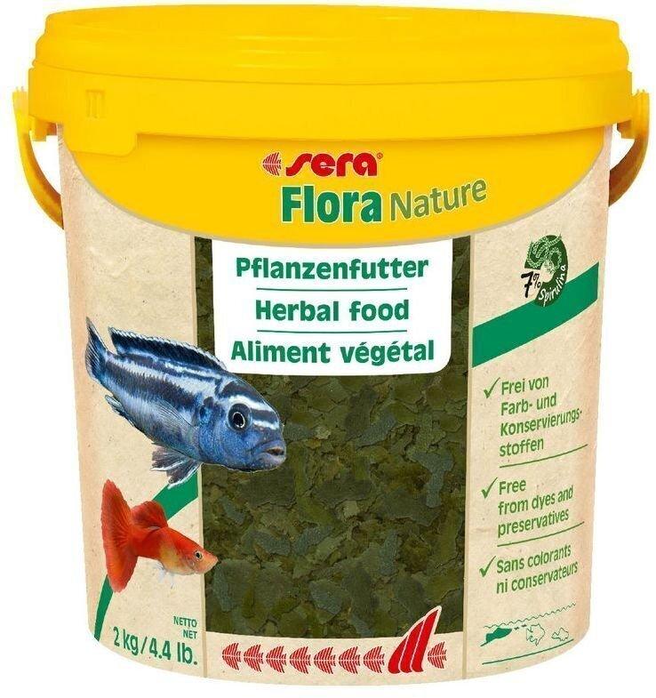 Flora Nature 10000мл. 2кг. (ведро) хлопьевидный корм драстительноядных рыб.