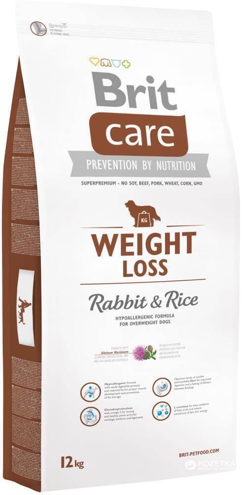 Brit Care корм для взрослых собак малых и средних пород с избыточным весом, кролик и рис 12 кг