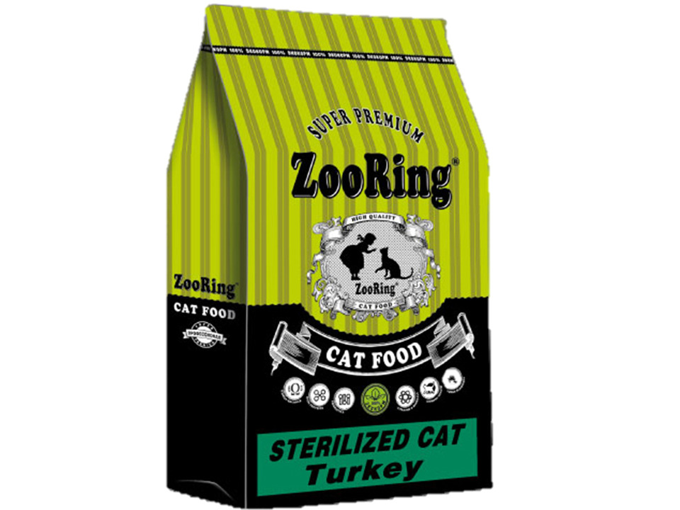 Zoo Ring корм д/к Sterilized Cat Turkey для стер. кошек и котов, индейка, 0.350 кг