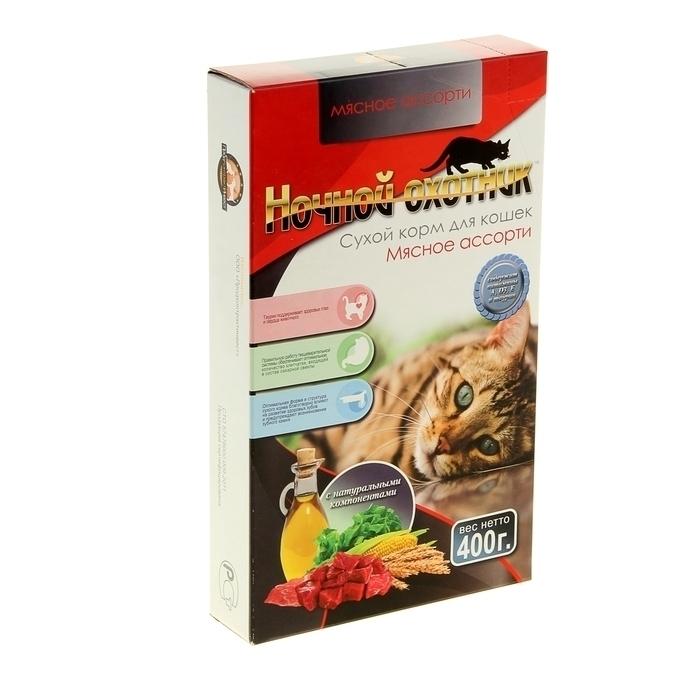 Ночной охотник сухой дкошек МЯСНОЕ АССОРТИ   400г  120 карт.коробка