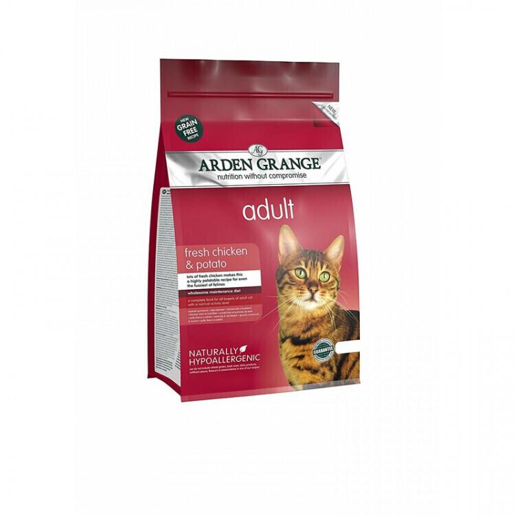 Arden Grange корм для взрослых кошек всех пород, беззерновой, курица и картофель 400 гр