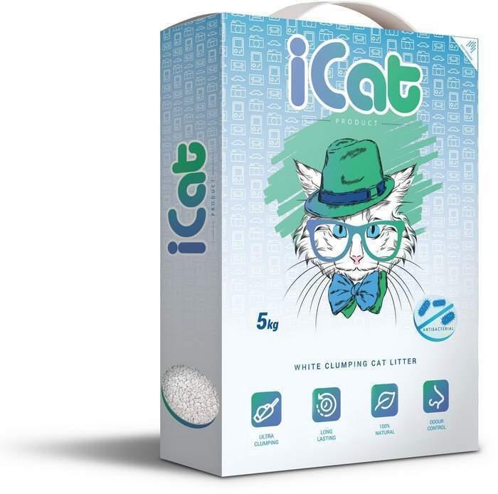 iCat комкующийся белый наполнитель для кошачьих туалетов, антибактериальный 5 кг