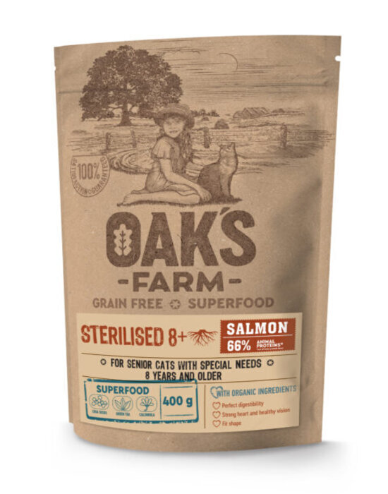Oaks Farm GF сухой корм для пожилых стерилизованных кошек, лосось 400 гр