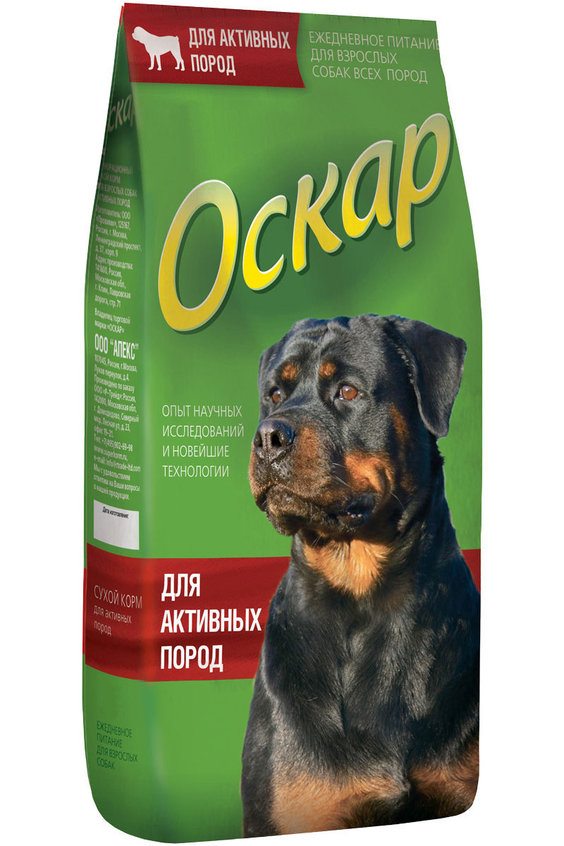 Оскар корм для взрослых собак всех пород, энергия и выносливость 12 кг