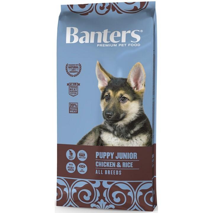 Banters корм для щенков всех пород, курица и рис 15 кг