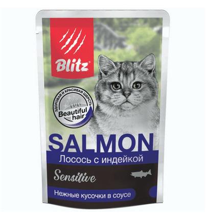 Blitz Паучи для кошек,индейка в соусе BCW08-1-00085, 0,085 кг, 53417