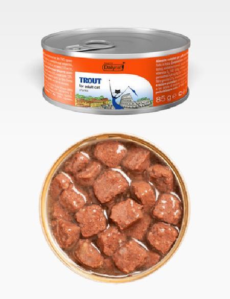 Dailycat Casual Line влажный корм для взрослых кошек, кусочки форели в соусе 85 гр