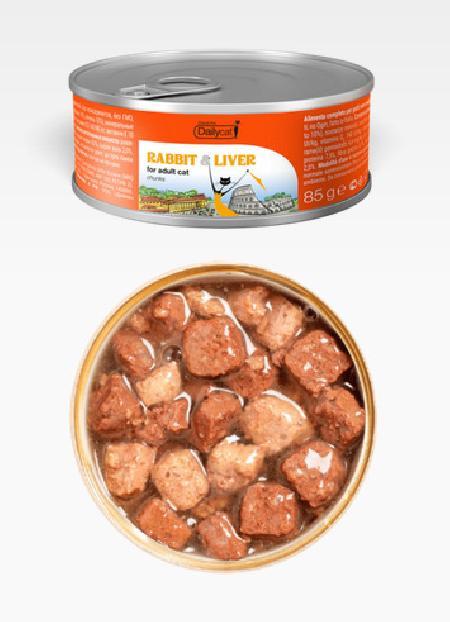 Dailycat Casual Line влажный корм для взрослых кошек, кусочки кролика и печень 85 гр