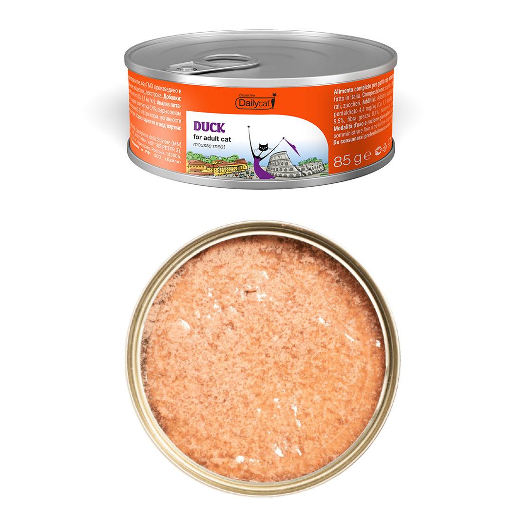 Dailycat Casual Line влажный корм для взрослых кошек, мясной мусс из утки 85 гр