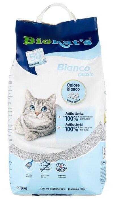BioKats Bianco комкующийся наполнитель для кошачьих туалетов, белый 10 кг