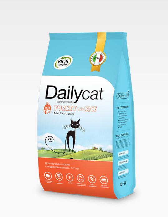 Dailycat ADULT Turkey and Rice 0,4кг - корм для взрослых кошек с индейкой и рисом 0,4кг