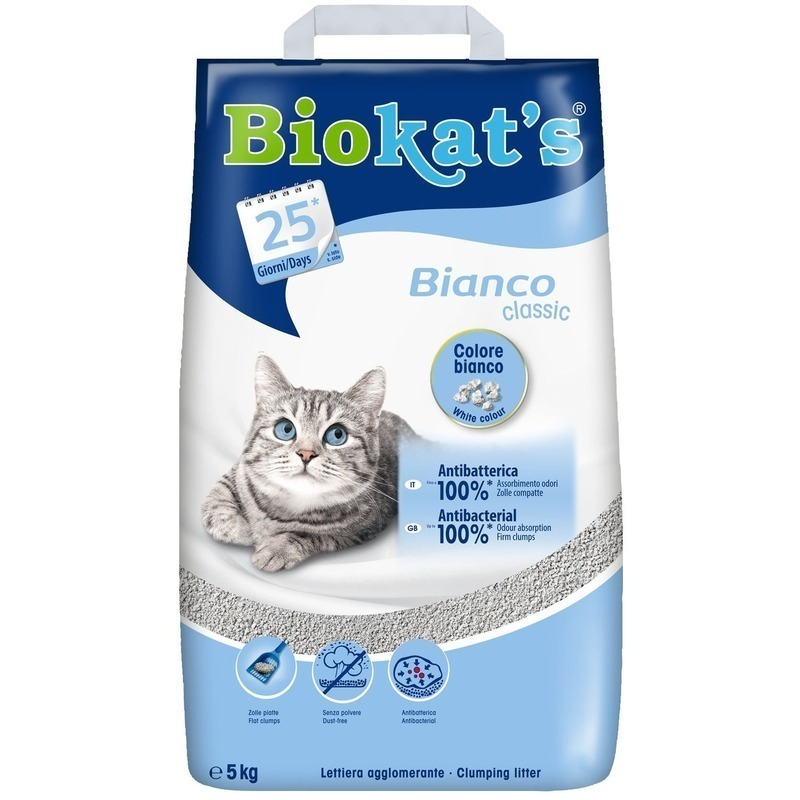 BioKats Bianco комкующийся наполнитель для кошачьих туалетов, белый 5 кг