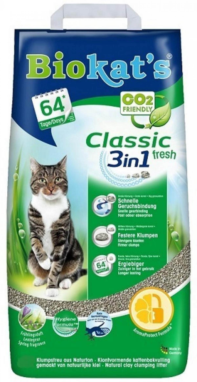 BioKats Fresh 3 in 1 комкующийся наполнитель для кошачьих туалетов, аромат трав и цветов 10 л