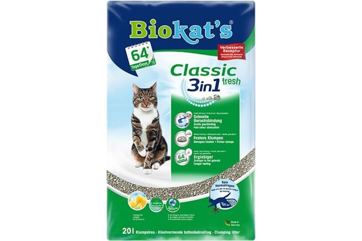BIOKAT S CLASSIC FRESH наполнитель комкующийся c ароматизатором 20 л (20 кг)