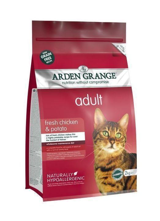 Arden Grange корм для взрослых кошек всех пород, беззерновой, курица и картофель 2 кг