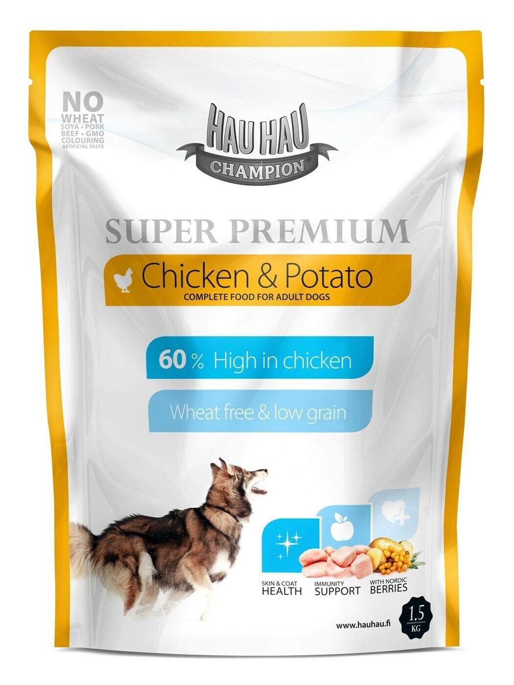 [79601]  Hau-Hau Champion SP Chicken-Potato 1.5 кг 18- полнорационный корм для собак всех пород курица с картофелем  1.5 кг, 79601