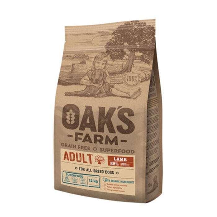 Oaks Farm GF сухой корм для собак всех пород, ягненок 12 кг