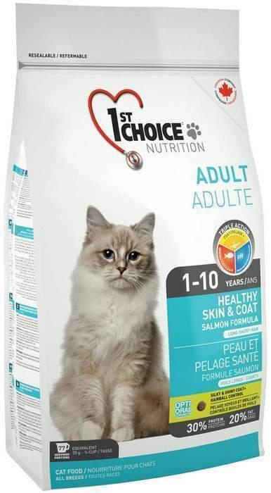 1st Choice корм для взрослых кошек всех пород, для кожи и шерсти, лосось 5,44 кг