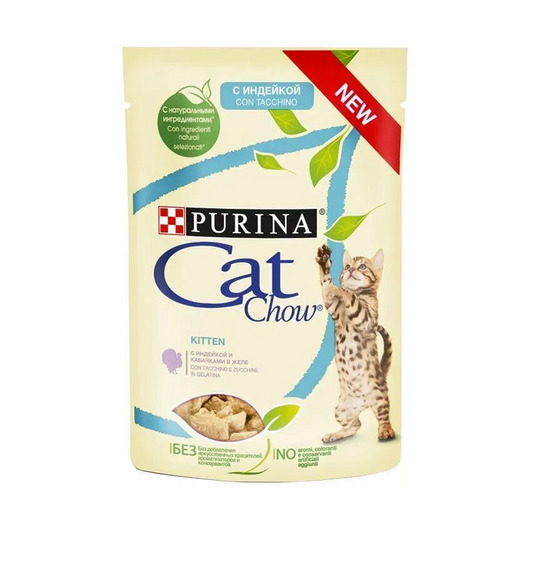 Cat Chow OZON Упаковка 24 шт Паучи для котят Кусочки в желе с индейкой и кабачком 12349389, 2,04 кг, 34109.ozon
