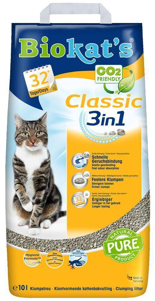 BioKats Classic 3 in 1 комкующийся наполнитель для кошачьих туалетов, без запаха 10 л