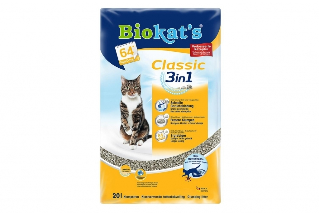 BioKats Classic 3 in 1 комкующийся наполнитель для кошачьих туалетов, без запаха 20 л