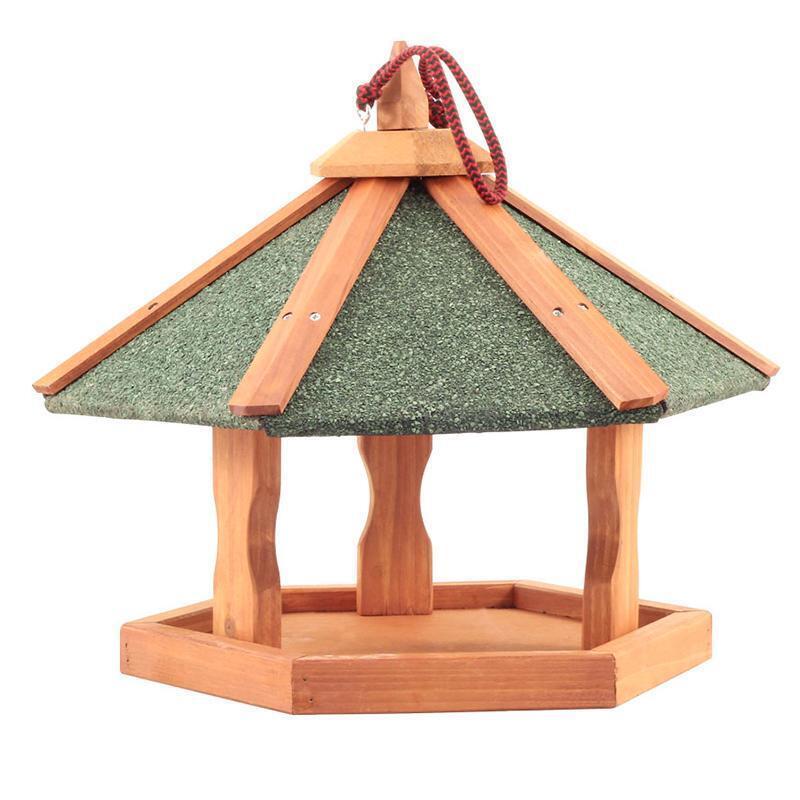 BHW1018  Кормушка деревянная подвесная уличная для птиц 47,5х47,5х36см