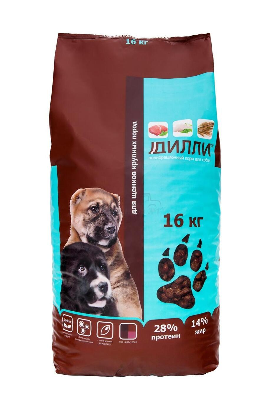 Корм для собак Дилли для  щенков крупных пород 16 кг