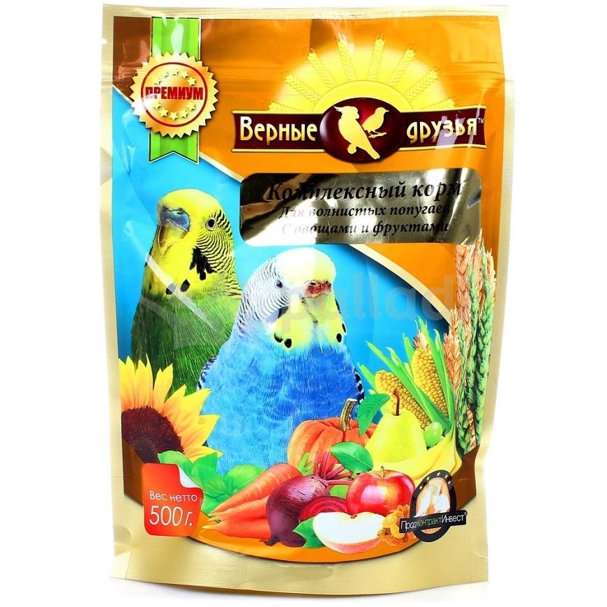 Корм Верные друзья дволнистых попугаев 500гр с овощами и фруктами 110