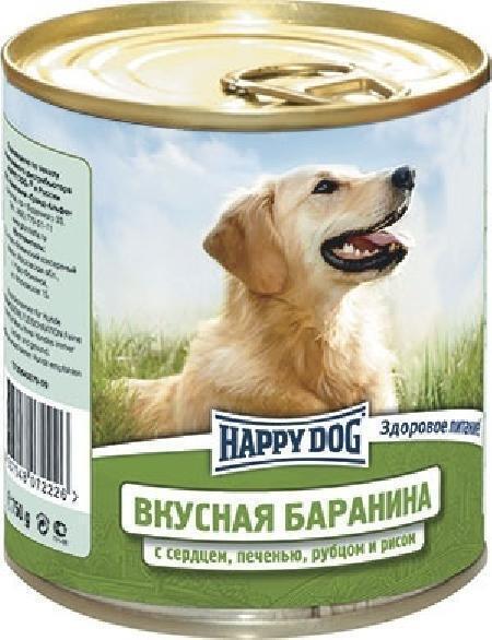 Happy Dog влажный корм для взрослых собак всех пород, с сердцем, печенью и рубцом и рисом 750 гр