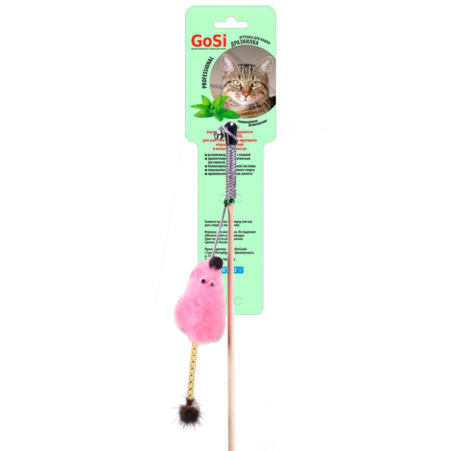 **GoSi 07192 Игрушка дкошек Махалка Мышь с мятой розовый мех с хвостом из розового меха на веревке этикетка флажок
