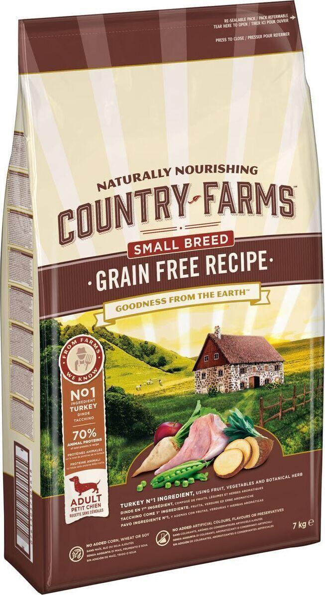 Country Farms корм для взрослых собак малых пород, полнорационный, беззерновой, индейка 7 кг