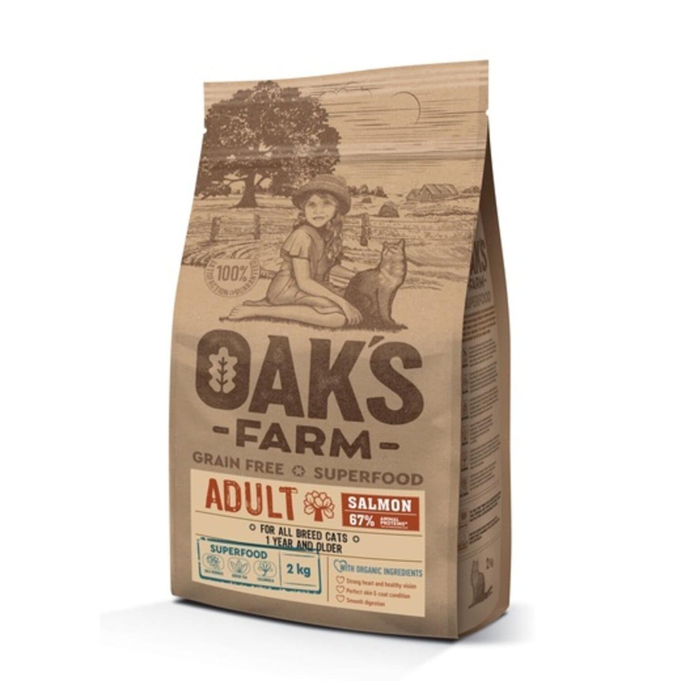 Oaks Farm GF сухой корм для кошек, лосось 2 кг