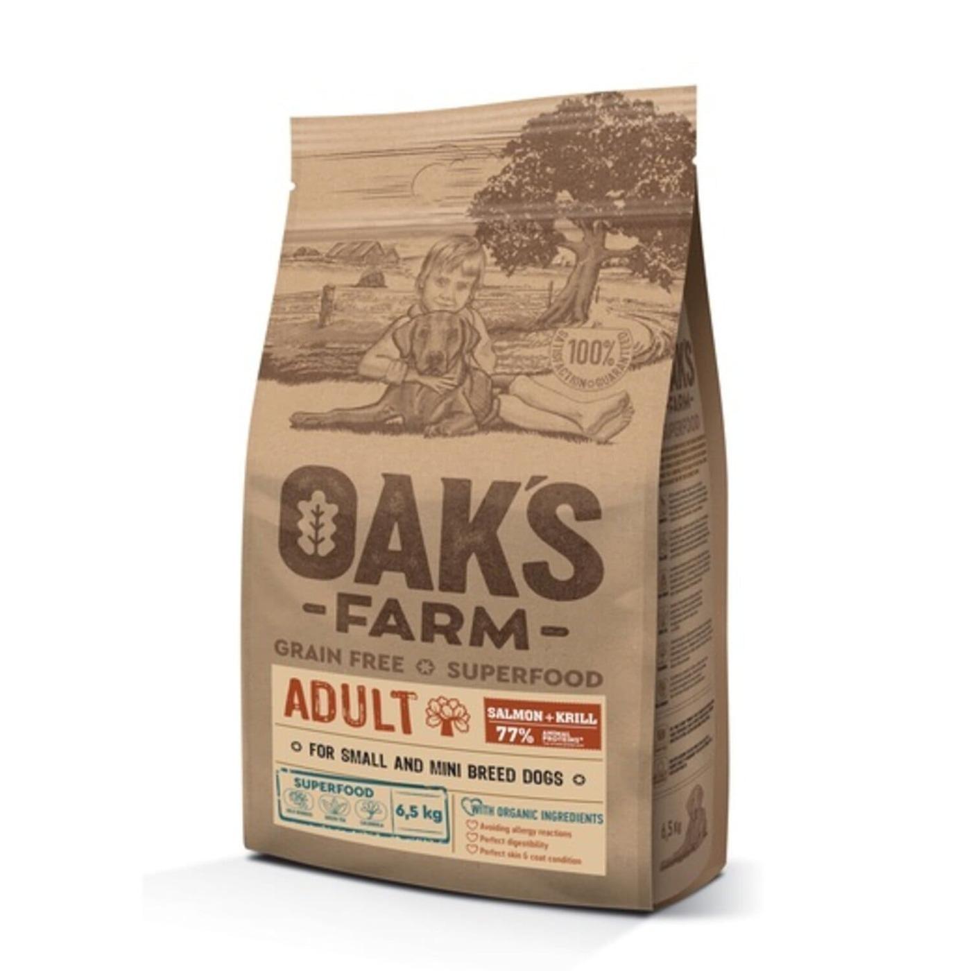 Oaks Farm GF сухой корм для собак мелких и карликовых пород, лосось и криль 6,5 кг