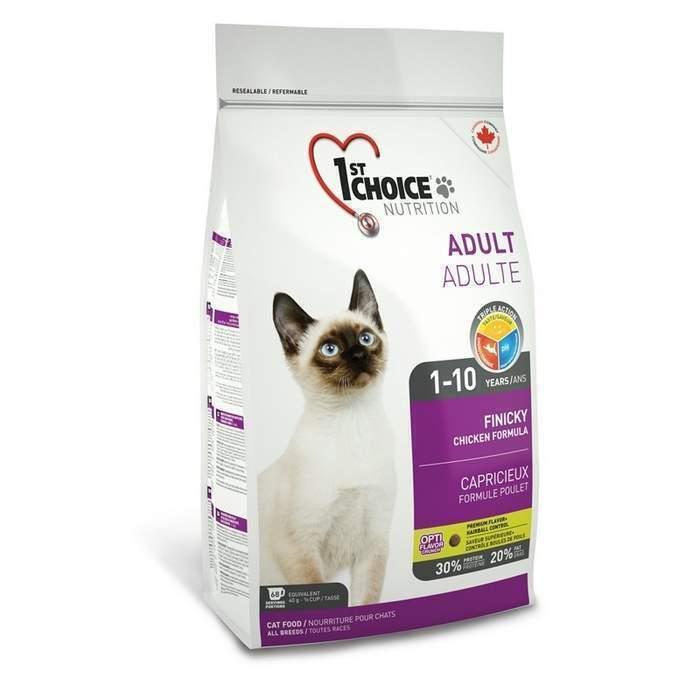 1st Choice корм для взрослых кошек всех пород, привередливые в питании, курица 5,44 кг