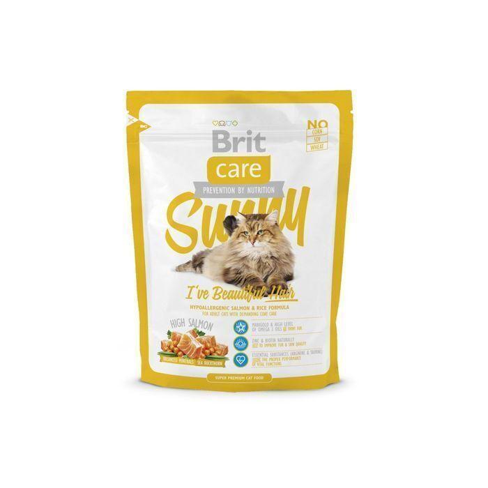 Brit Care корм для взрослых кошек всех пород, уход за кожей и шерстью 400 гр