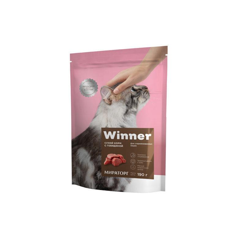 Winner Полнорационный сухой корм для взрослых кошек всех пород с говядиной 190гр.