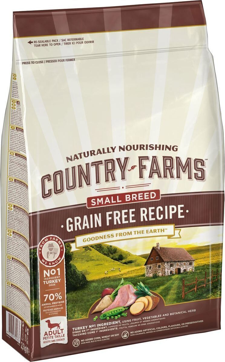 Country Farms корм для взрослых собак малых пород, полнорационный, беззерновой, индейка 2,5 кг
