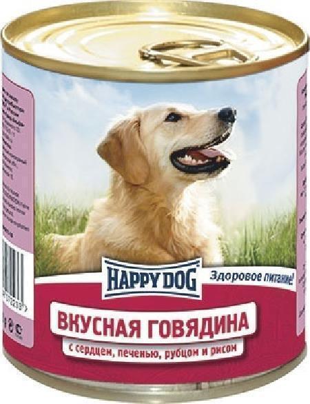 Happy Dog влажный корм для взрослых собак всех пород, говядина с сердцем, печенью, рубцом и рисом 750 гр